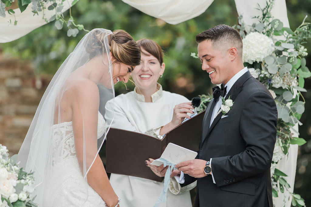 Rev. Laura Cannon performing a marriage ceremony